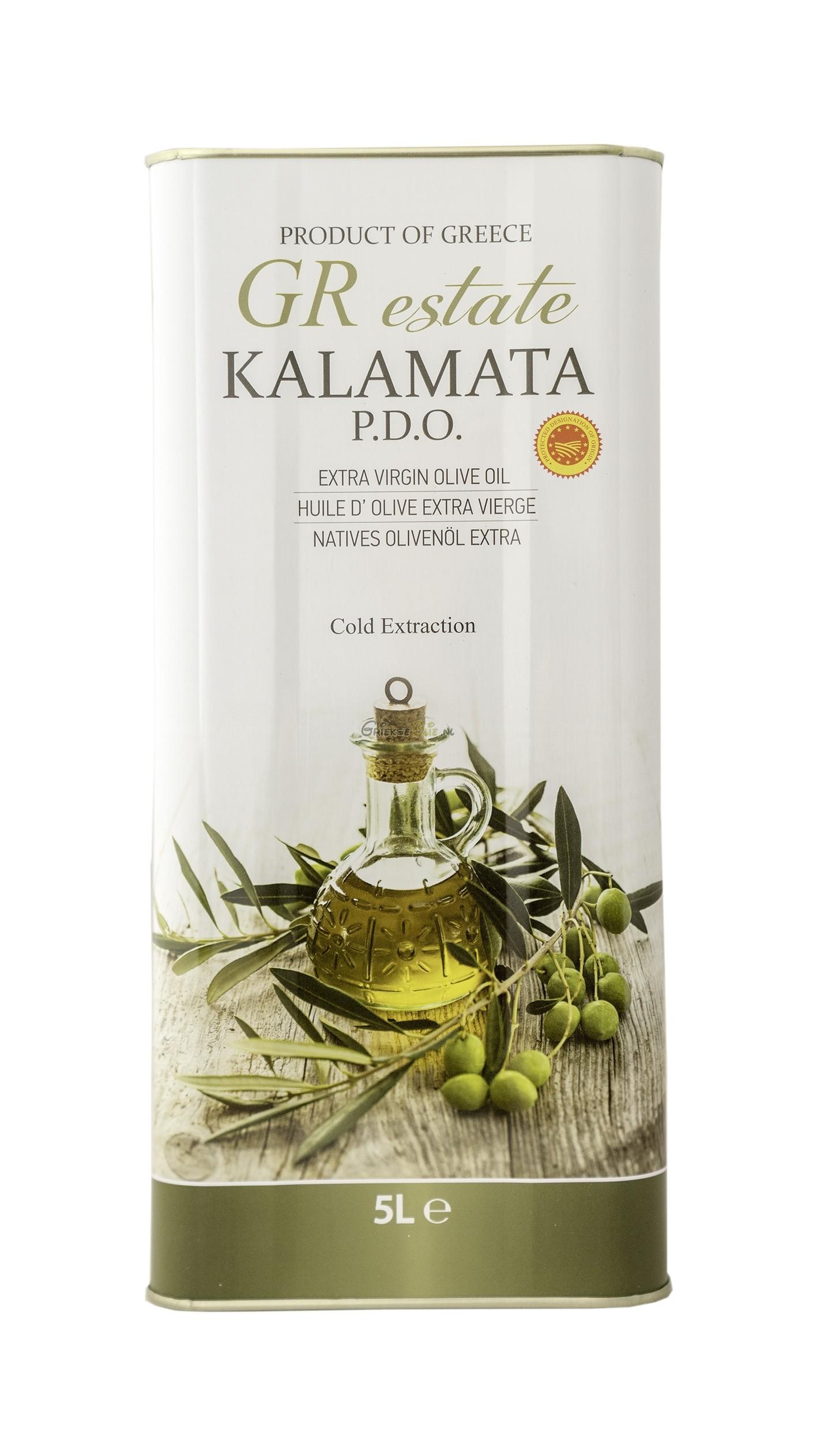 Extra Vergine Olijfolie uit Kalamata 5 liter in blik - oogst 2018-2019