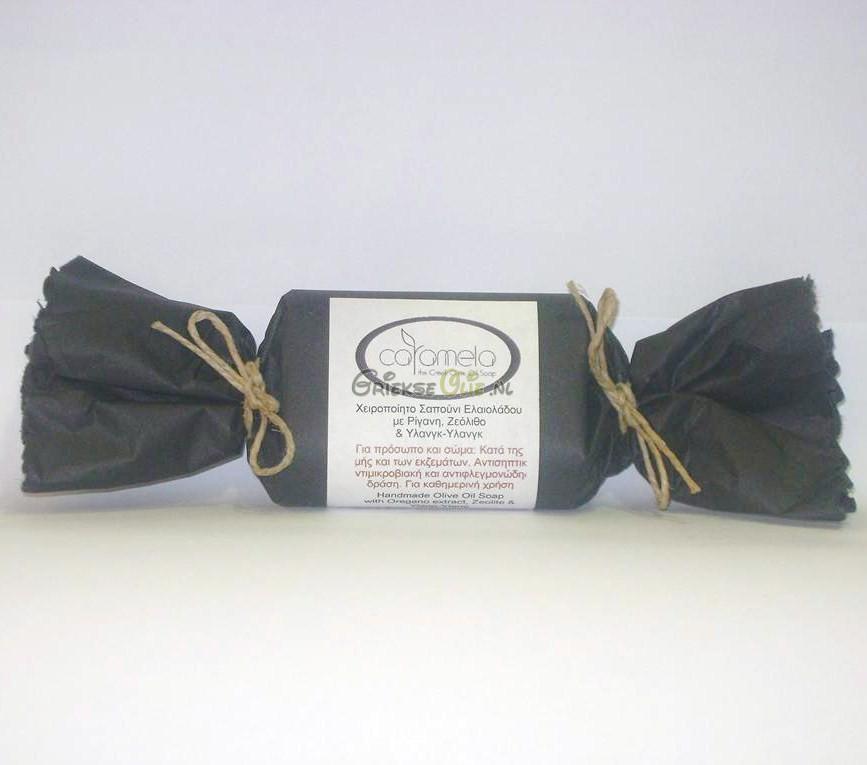 Zeep van biologische extra vergine olijfolie met oregano olie, zeoliet en ylang-ylang