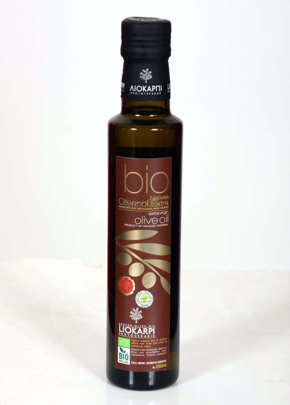 Biologische Extra Vergine Olijfolie uit Kreta 0.25 liter in fles - oogst 2019-2020