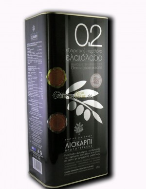0.2 Extra Vergine Olijfolie uit Kreta met extra lage zuurgraad - 5 liter blik - oogst 2019-2020